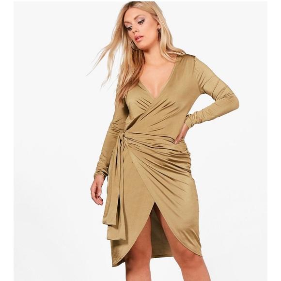 6f1dfa7a9dfc Boohoo Plus Dresses   Moving Sale Nwot Boohoo Wrap Tie Midi Dress ...